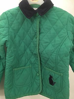 Girl's green quilted coat with navy trim - age 4 - cat pocket