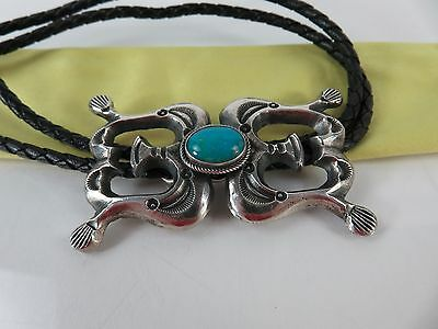 Vintage Randy Boyd Navajo Sand Cast Sterling Silver Turquoise Bolo Tie