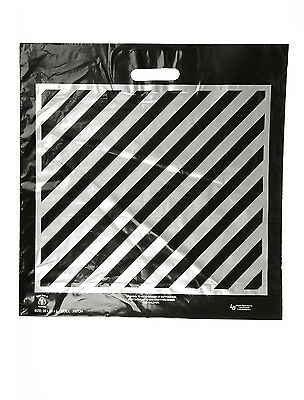 FREE SHIPPING!!! 100 Bags~ Size:20x20x5 Silver Stripes Die Cut Handle Plastic
