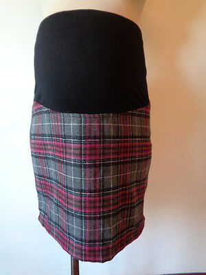 Jojo Maman Bebe Maternity Grey Check Over Bump Mini Skirt Size 10 Bnwt Rrp £29