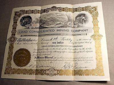 Early Stock Certificate with (3) inset Mining (3) Vignettes Lead Consolidated