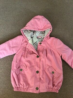 Next Brand New Girl Pink Hooded Floral Lined Coat Age 2-3 Years