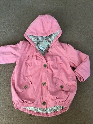 Next Brand New Girl Pink Hooded Floral Lined Coat Age 3-4 Years
