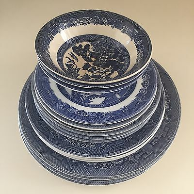 Willow Johnson Brothers Blue White 15p Dinner Set England Plates Bowls Vintage