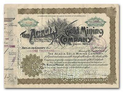 Acacia Gold Mining Company Stock Certificate