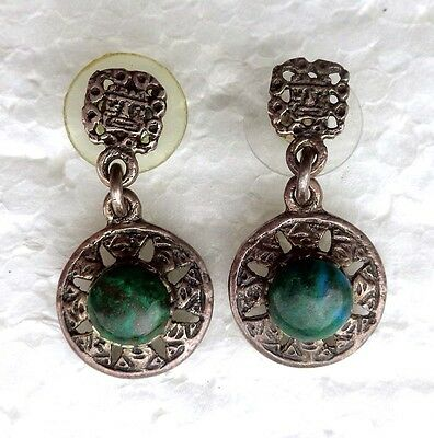 Mexican (?) chrysocolla and pewter earrings - Aztec Maya mask