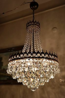 Antique Vnt.French Basket Style Crystal Chandelier Lamp Light 1940's.16 in RARE