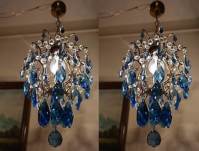 Pair of Antique Vint.Cage Style Blue Crystal Chandelier Lamp Light 1940's 10 in.