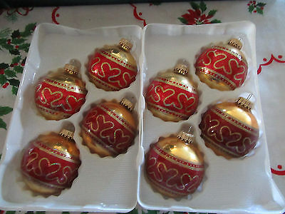 Krebs~Christmas~8~Gold~Gold & Red Glitter~Blown Glass~Ball Ornaments~2 Boxes