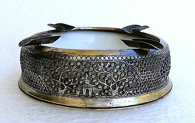 VIETNAM: silver ashtray with Chinese porcelain bowl