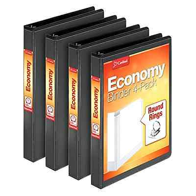 Cardinal Economy Round Ring View Binders, 1 Inch, Black, 4 per Pack (79512)