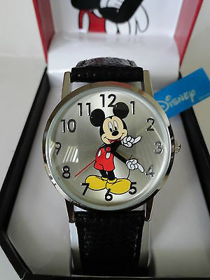 New Disney Mickey Mouse  leather band watch, new/warranty + FREEE GIFT