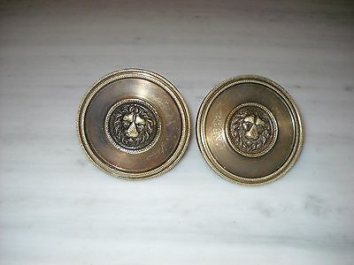 Pair of Greece Vintage Solid Brass Door Knobs Handles Lion Head