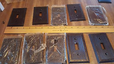 switch plate 1-gang  1g BROWN sierra?? vintage ribbed art deco electrical qty 10