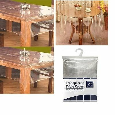 "NEW TRANSPARENT TABLECLOTH COVER CLEAR PROTECT WIPE CLEAN 54"" 137cm SQUARE 1083"