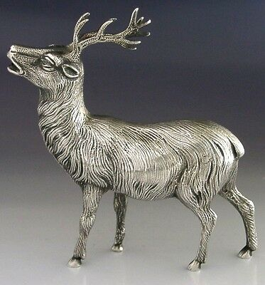 SUPERB LARGE STERLING SILVER DEER / STAG FIGURE HEAVY 201g 4.5inch TALL HUNTING