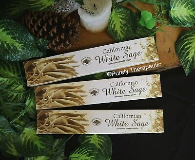 CALIFORNIAN WHITE SAGE MASALA INCENSE STICKS~Green Tree 15gms~Wicca Smudge Pagan