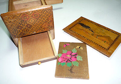Vintage Japanese Inlaid Marquetry Wood Puzzle Box Mt Fuji Scottie Japan 6 Steps