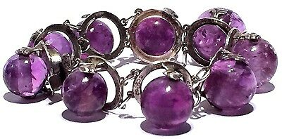 1890s VICTORIAN NATURAL AMETHYST GRADUATED BALL SILVER ENGRAVED CLASP BRACELET