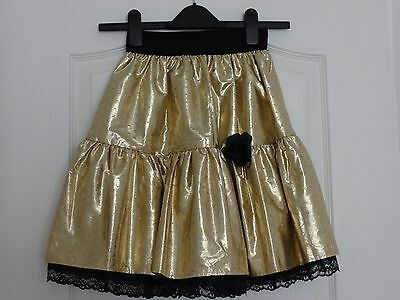 Girl's Metallic Gold Coloured Party Skirt, Fully-Lined, 11-14 Years