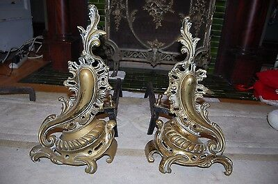Antique French Louise XV Flames Fireplace Andirons