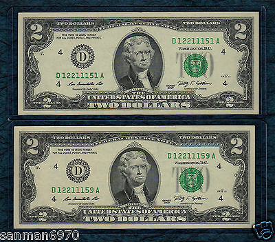 (2)~2009~$2 Dollar Bill  Very~Fine Circulated Notes About Seqential