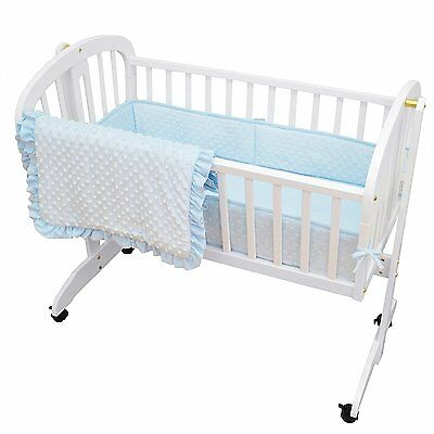 Heavenly Soft Minky Dot 3-Piece Cradle Set Blue, American Baby Company 1520SS