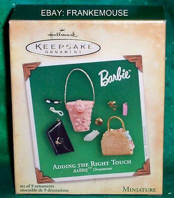 New Retired Hallmark Barbie Adding The Right Touch Miniature Set 9 Ornaments