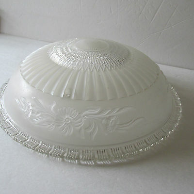 "Vintage Frosted / Clear Floral Glass Ceiling Light Shade 3 Chain Style 14"" Large"
