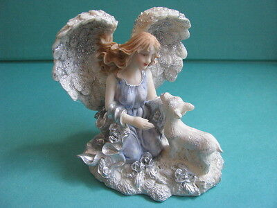 BEAUTIFUL  ANGEL  FIGURINE - with LAMB .  LOVELY  SILVER GLITTER WINGS