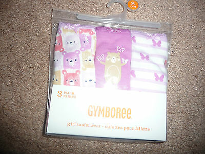 NEW Gymboree Pack of 3 NEW size 5/6 Panties/Underwear purple/bears/butterfly NWT