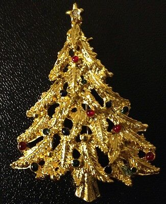 Vintage Gold Plated Christmas Tree Brooch Pin Austrian Crystal Stone & Colors