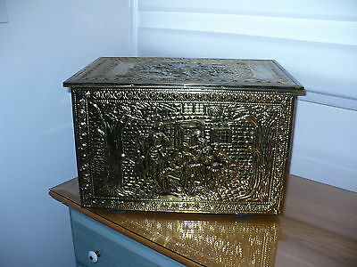 vintage embossed brass fireplace box trunk chest England Wood kindle box Hearth