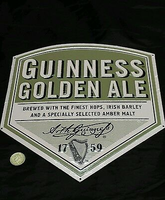 Guinness Golden Ale Pressed Metal Advertising Sign Wall Plaque