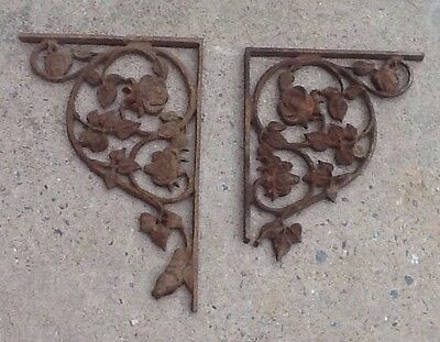 "Vintage Pair of Large 16"" Cast Iron Architectural Corner Brackets - Ornate"