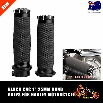 "1"" 25mm Black Aluminum Motorcycle Hand Grips For Harley Sportster Touring Dyna"