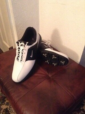 Nike White And Black Golf Shoes Soft Spikes UK Size 12