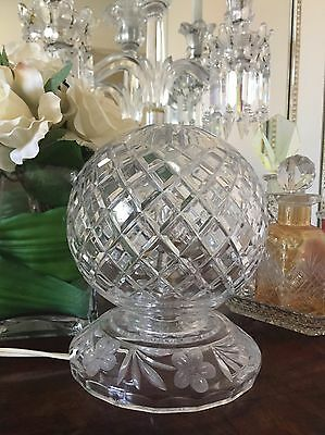 Vintage Diamond Cut Crystal Light Table Bedside Lamp Etched Flowers PERFECT!