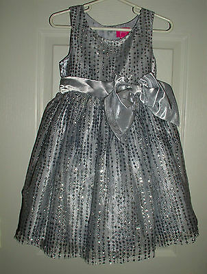 SILVER Sparkle w/Bow 4T Dress Girls HOLIDAY Pageant Wedding Flower Girl Party