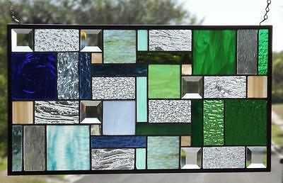 """•EYE CANDY •Beveled Stained Glass Window Panel • 23 1/2-12 1/2"""""""