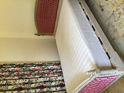 Genuine antique French double bed - carved painted timber with silk upholstery