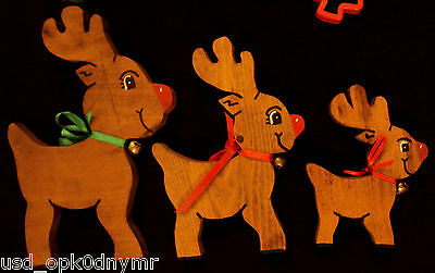 Cut Out Wood Rudolph Reindeer Family Christmas Decoration LOT Sleigh Bell Collar