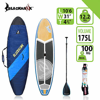 """BLACKHAWK 10'6"""" EX-Display ALL ROUNDER SUP STAND UP BOARD BAG CARBON PADDLE ROPE"""