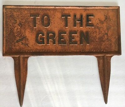 """Vintage Golf Course """"To The Green"""" Golfer Marker Sign Cast Iron. Xmas Gift #02"""