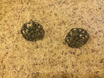 Lot Of 2 Vintage Antique Drawer Pull Knob Solid  Brass  1.5""