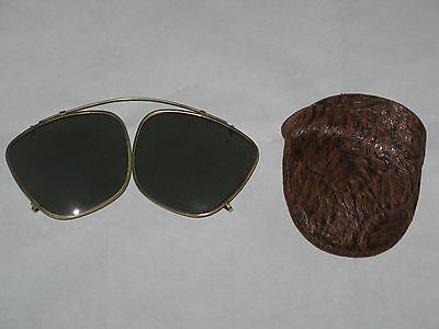 vintage folding clip-on sunglasses with leather case