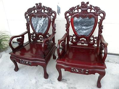 Chinese Qing Dynasty Vintage Heavily Carved Rosewood W/ Marble Inlaid Chairs