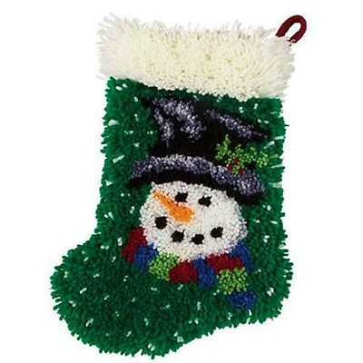 """Craftways """"Snowman Stocking"""" Shaped Holiday Latch Hook Kit 11"""" x 17.5"""" Christmas"""
