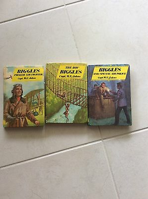 3  X BIGGLES BOOKS by CAPT. W.E. JOHNS BOOKS HARDCOVER in Good Condition