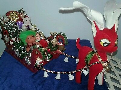 Lights Up!! Reindeer Dam Troll Christmas Sleigh Toys,tree,gifts Ornaments Sled